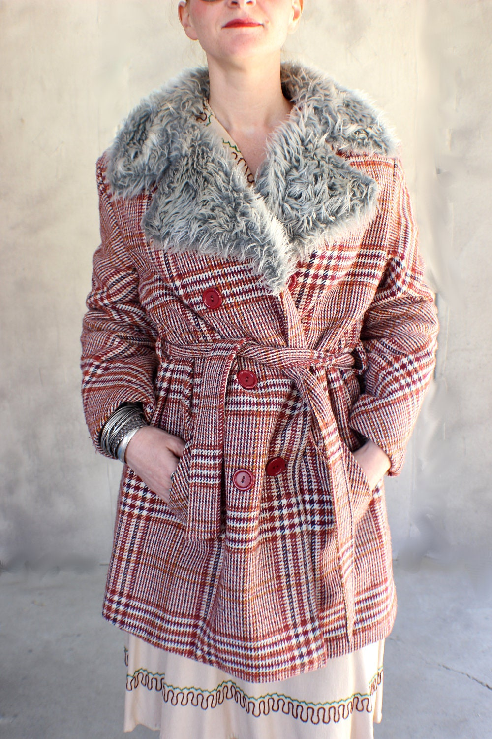 Vintage Vegan Fur Collar and Plaid Pea Coat