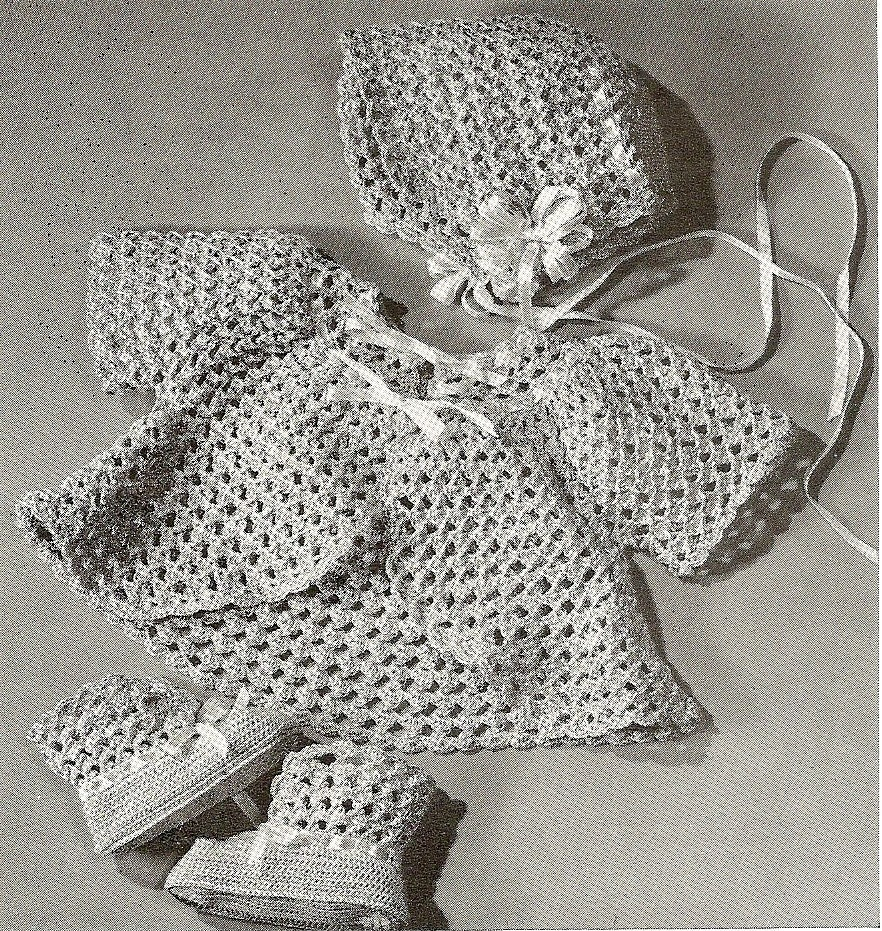 VINTAGE CROCHET PATTERN PDF - BABY BONNET, SACQUE, BOOTIES SET - 3 PATTERNS - 1943 - PATTERN 62