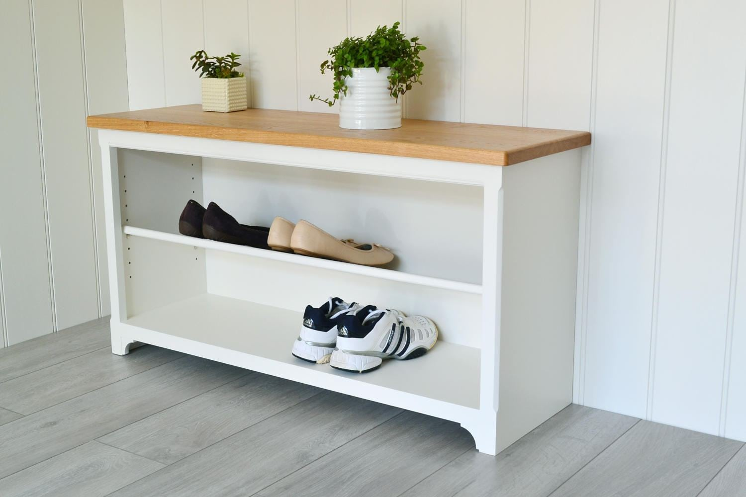 Hall Shoe Rack Adjustable Shelves Oak Top Shelves Shelving Unit Hallway Bedroom Bookshelf Hallway bench Shoe Storage.
