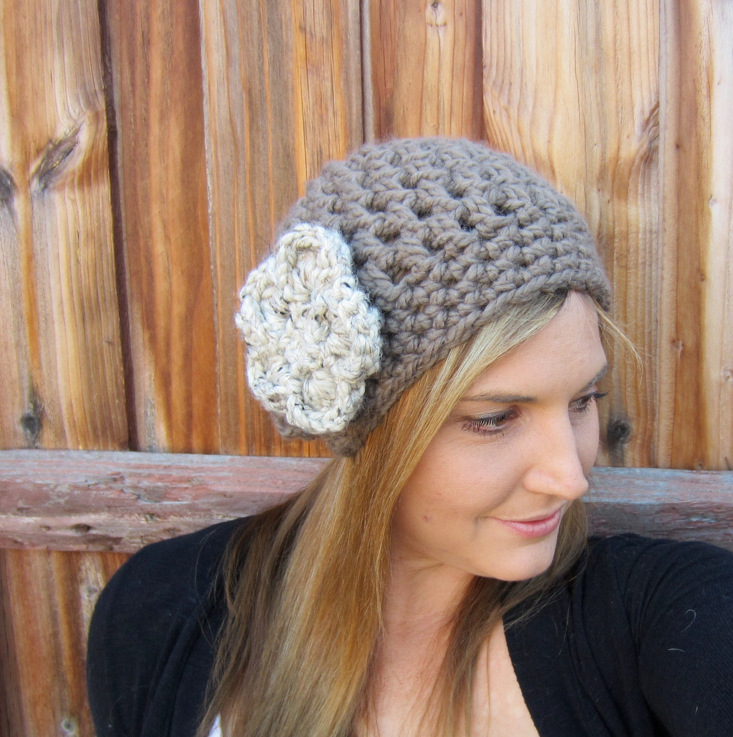 The Stella- Womens Slouch Hat With DETACHABLE Flower clip, crochet beanie, fall fashion - Choose your colors - FREE SHIPPING