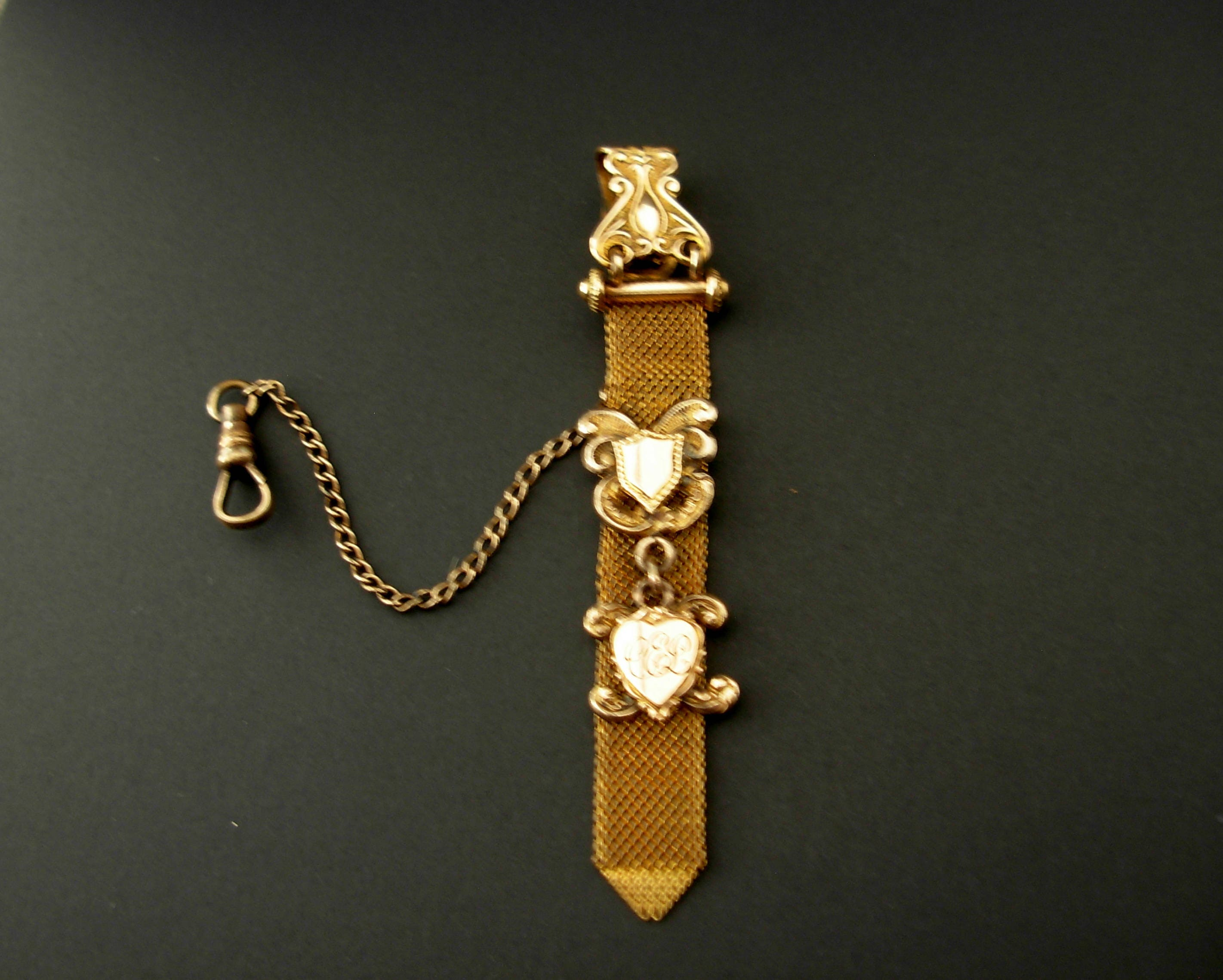 Antique Victorian Gold Filled Mesh Double Fob with Chain