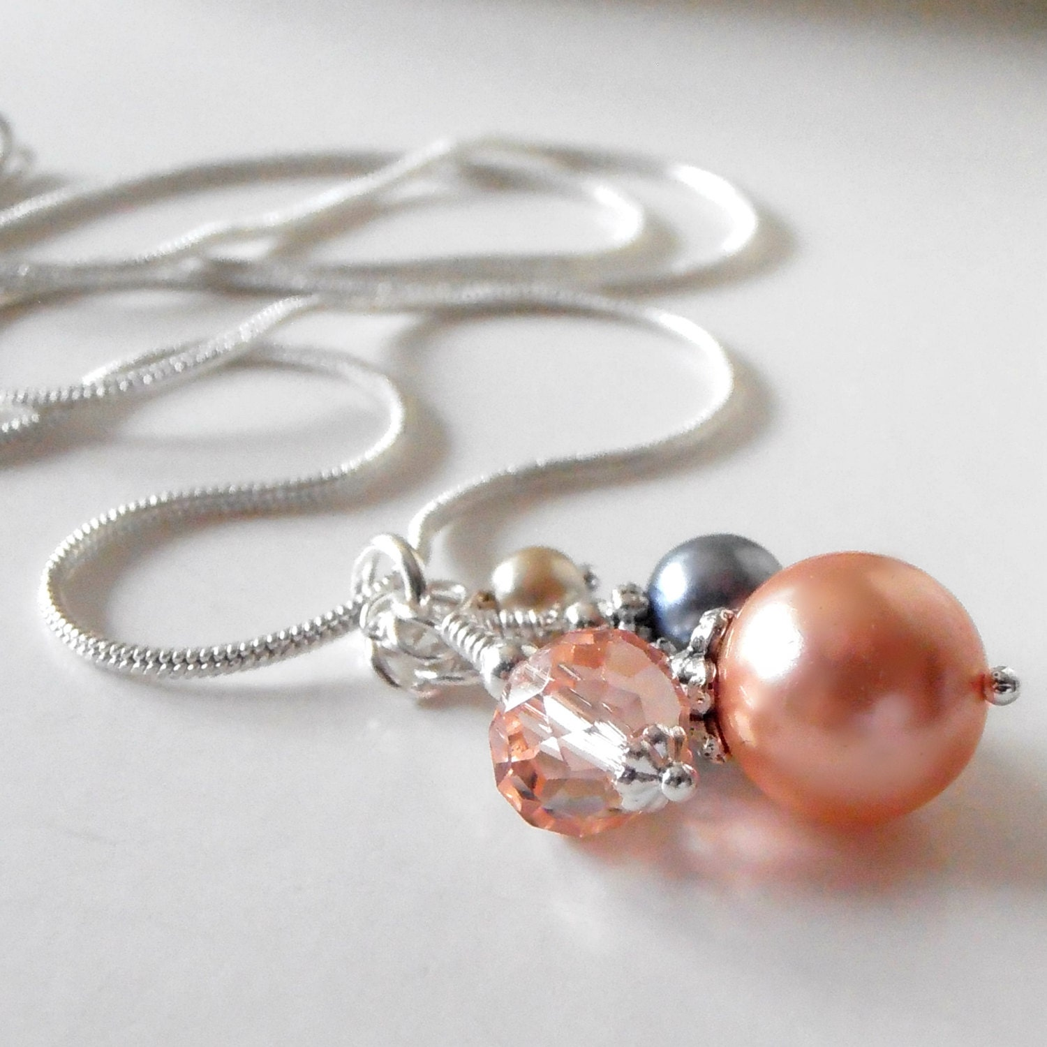 Gray and peach bridesmaid necklaces pearl and by for Bridesmaid jewelry sets under 20