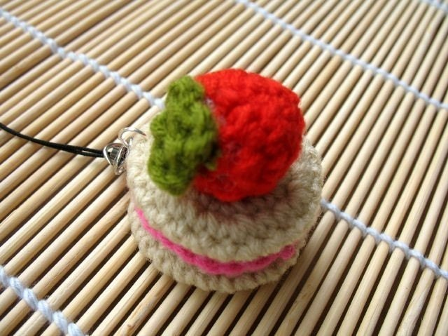 Crochet Cell Phone Charm - Strawberry On Biscuits
