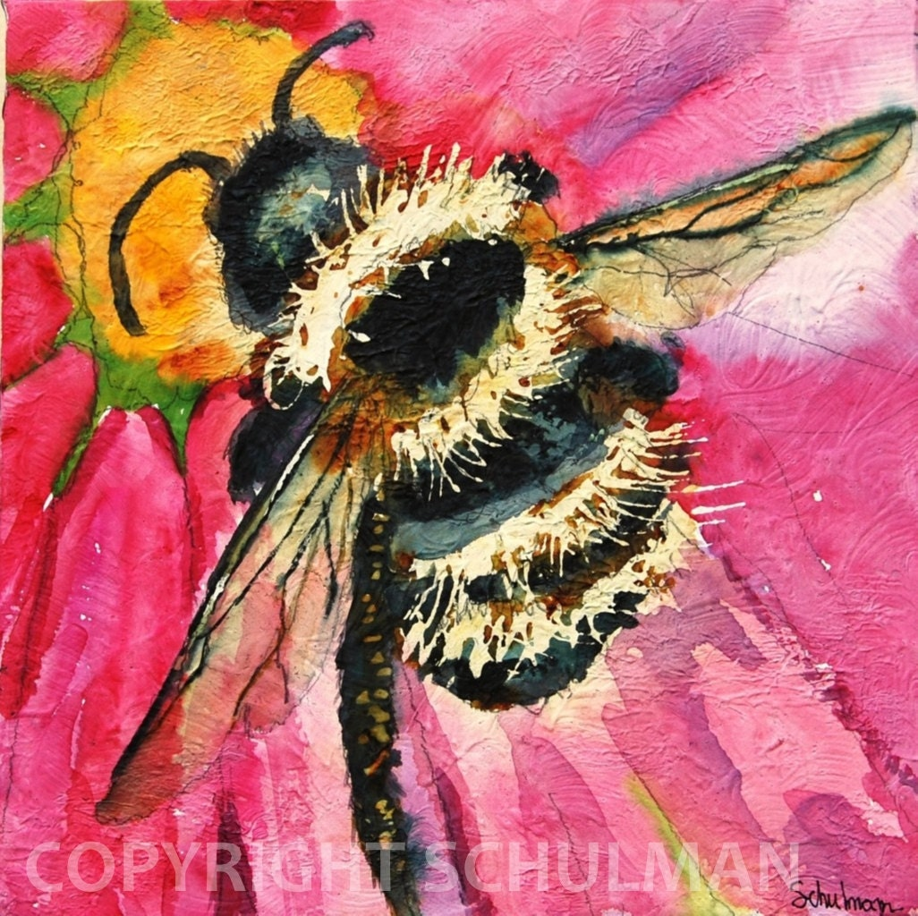"Insect Art, Bee Painting, Modern Abstract Contemporary Watercolor Painting art ""Busy as a Bee"" 10x10 in feminine soft colors"