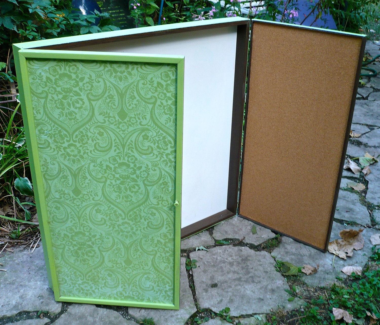 Whiteboard bulletin board wall organizer cabinet by for Bulletin board organizer