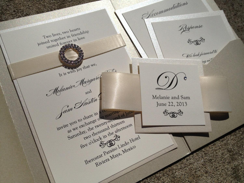 opulence pocket wedding invitation in cream by decadentdesigns