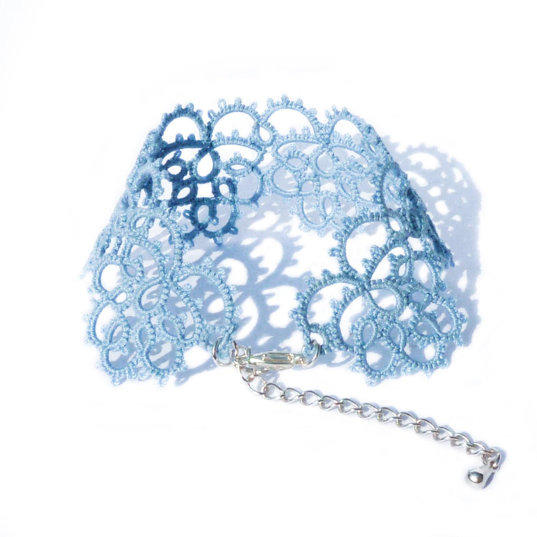 Luxurious dusk blue lace bracelet  handmade lace cuff - Decoromana