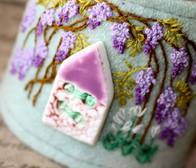 Hand Embroidery Wrist Cuff Wisteria Cottage Embroidered