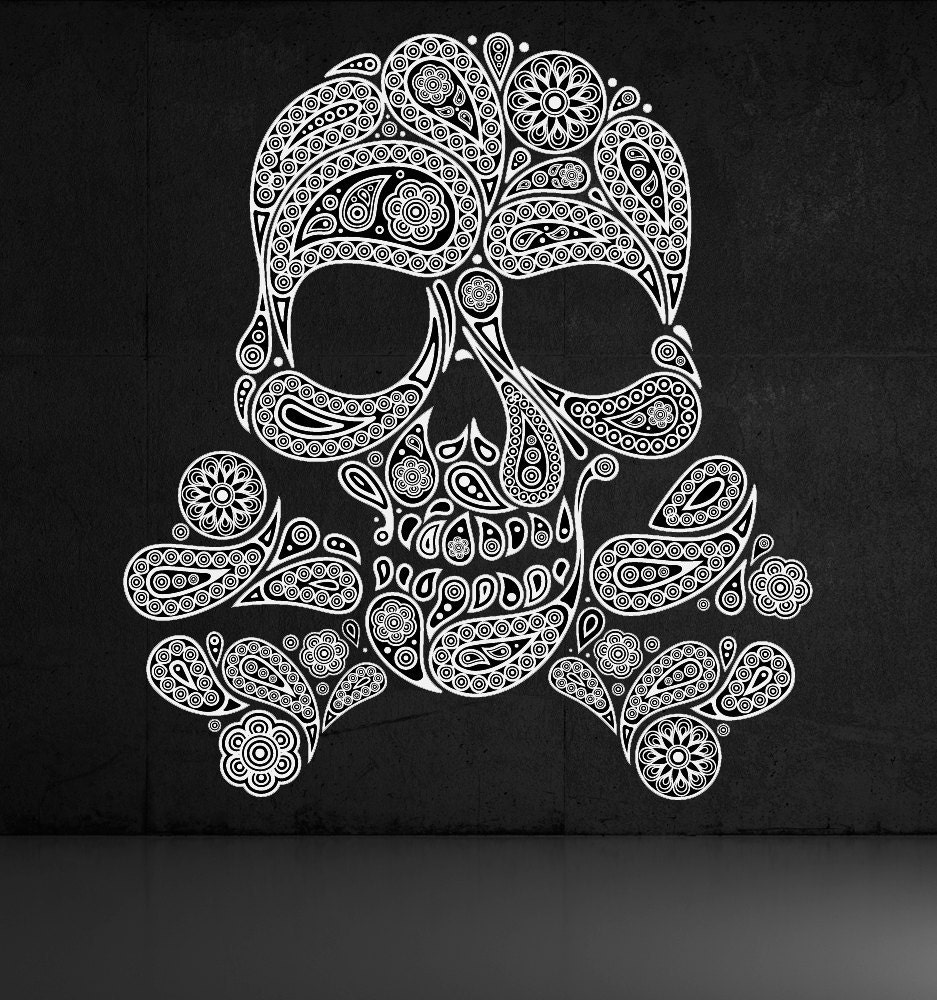 Skull of Paisleys Crossbones Decal Sticker by VinylWallAdornments