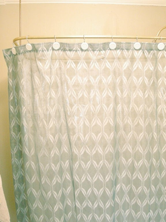Retro Teal White Shower Curtain With Groovy Wave By Solartwin