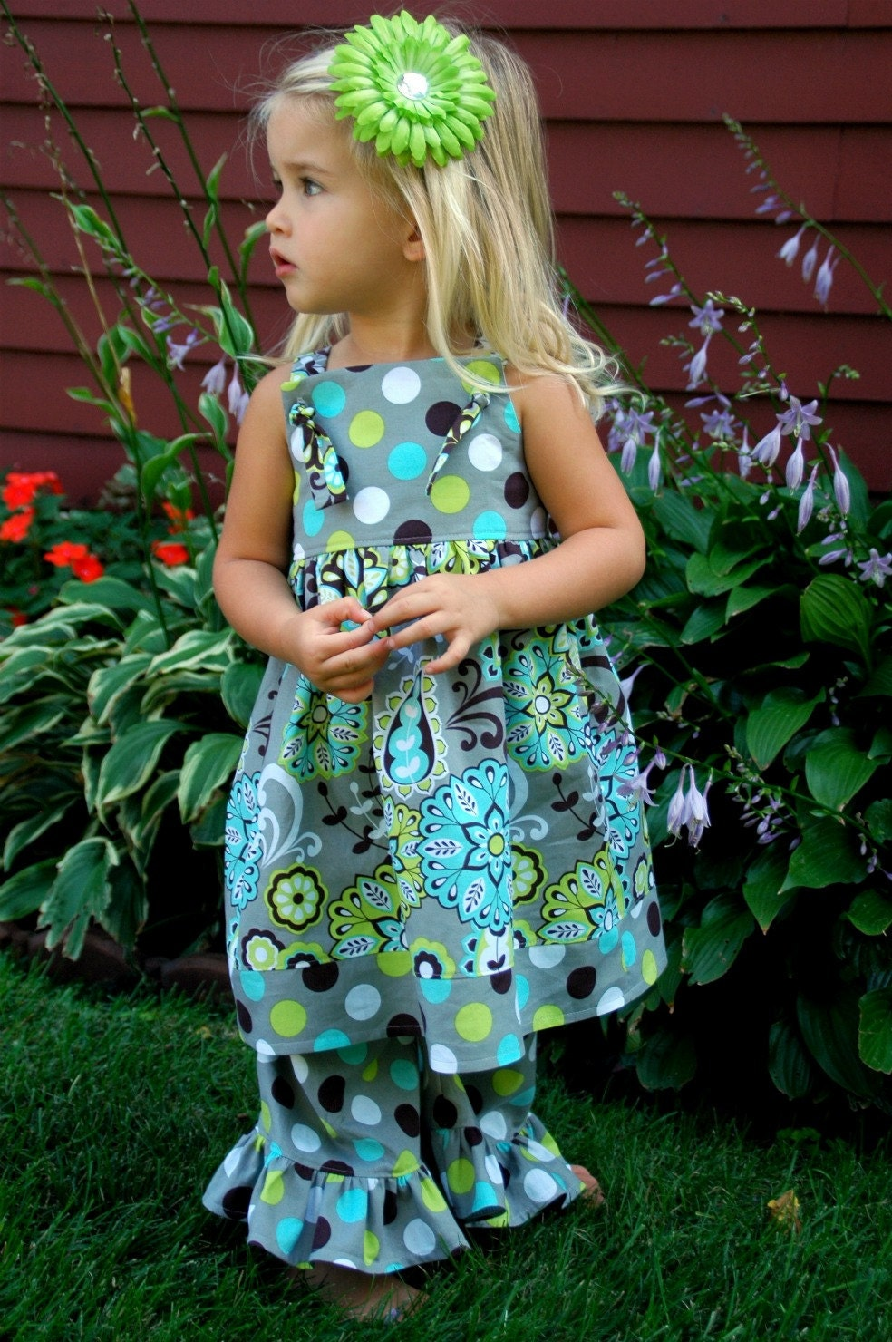 Grey, Brown, Lime Green, and Turquoise Polka Dot and Paisley Knot Dress