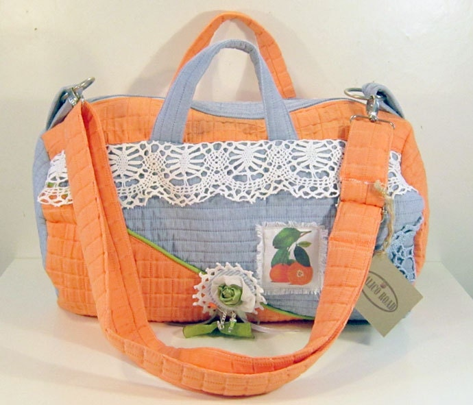 Unique Diaper bag carry all weekend  bag ooak large quilted fabric duffle bag