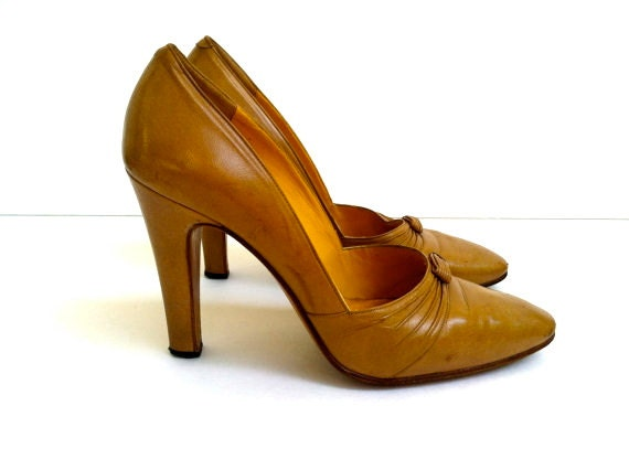 tan leather vintage heels from the 1950's