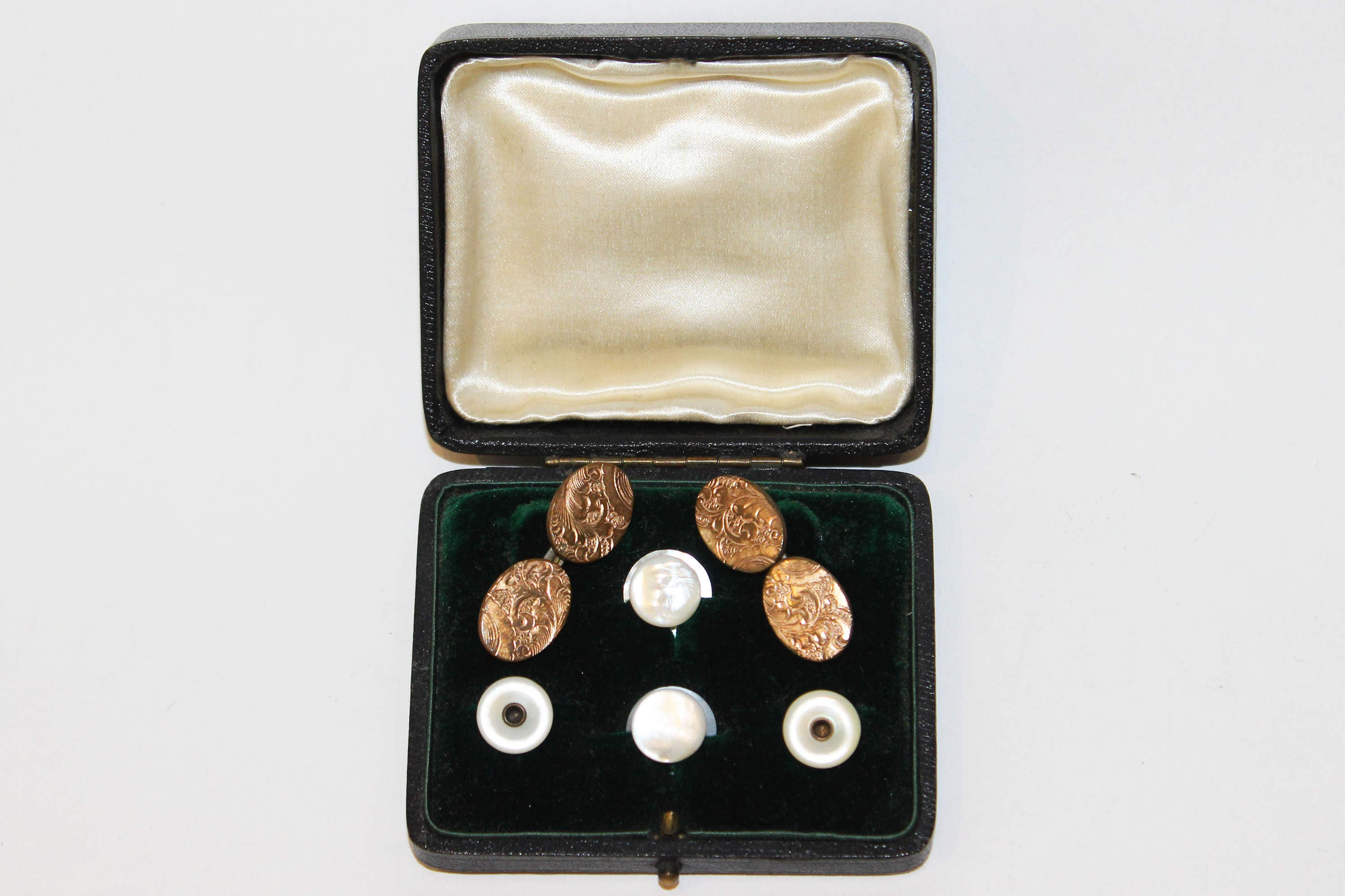 Antique Gold Engraved Cuff Links and Pearl Dress Clips