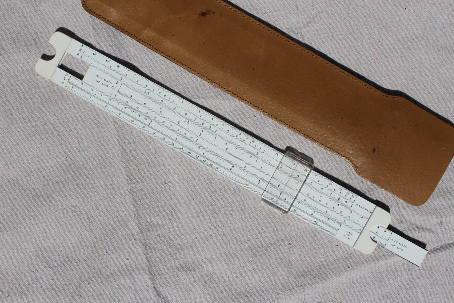 ACU-MATH Mannheim No. 4008 Professional Slide Rule, 1960's, In Case Retro Tool Mid Century Tool Collectible