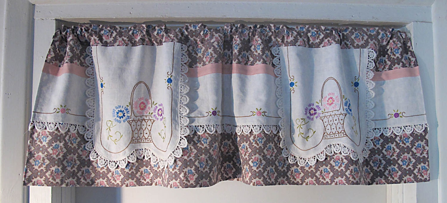 Repurpose vintage linen valance upcycle embroidery by