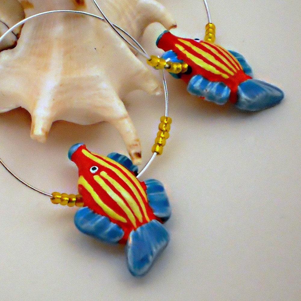 Handmade Earrings . Cute . Orange . Striped Fish . Beaded Hoop Jewelry