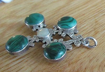 Antique Solid Silver Pendant Set with Malachite Stones and Central Blister Pearl