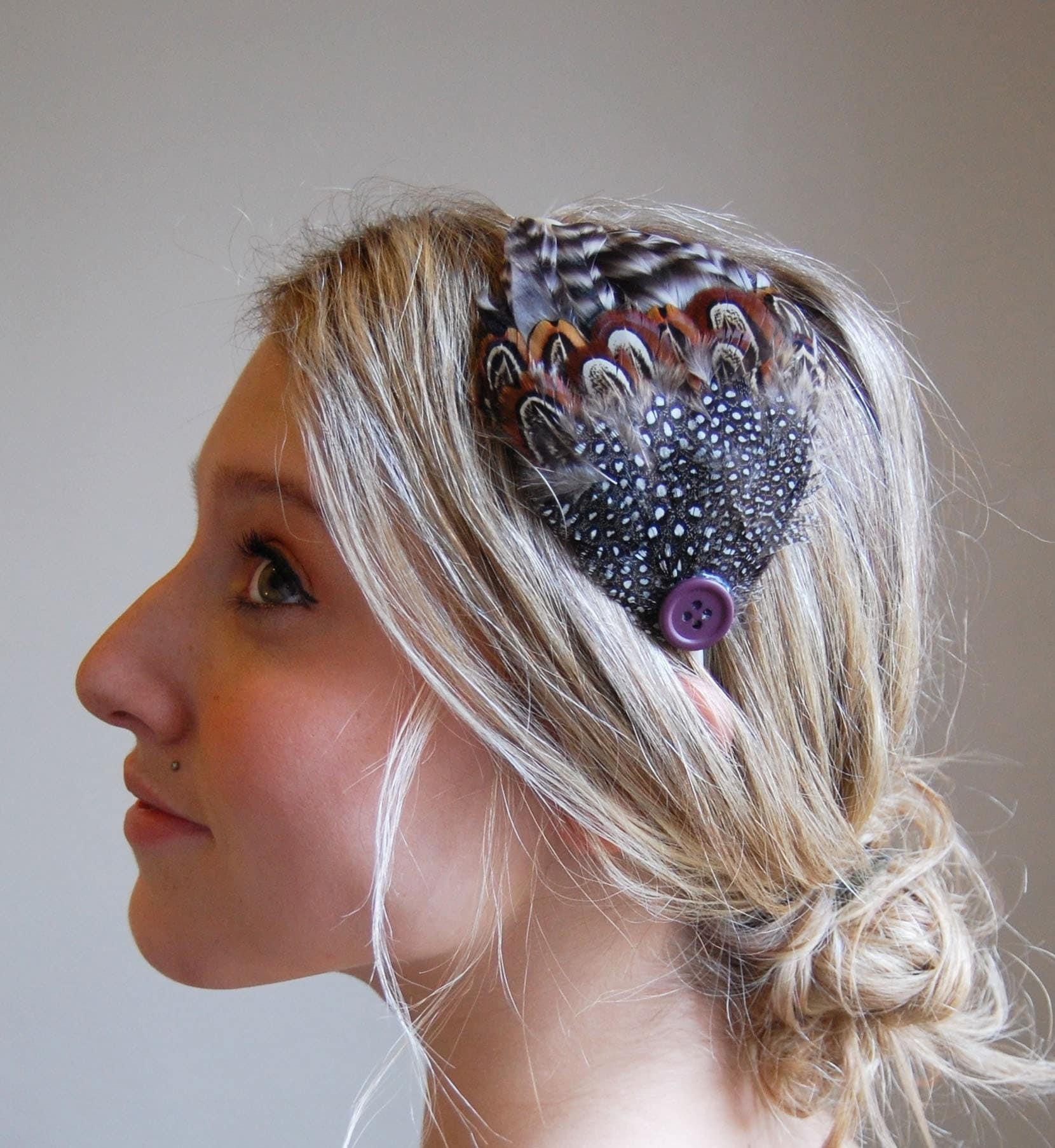 old hollywood feather fascinator-headband