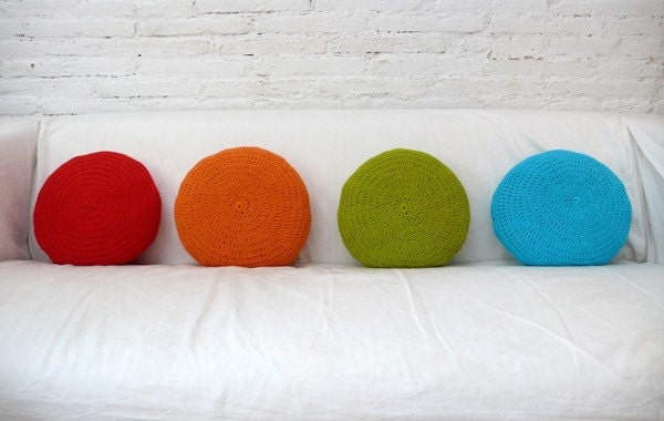 Crochet Round Pillow - orange