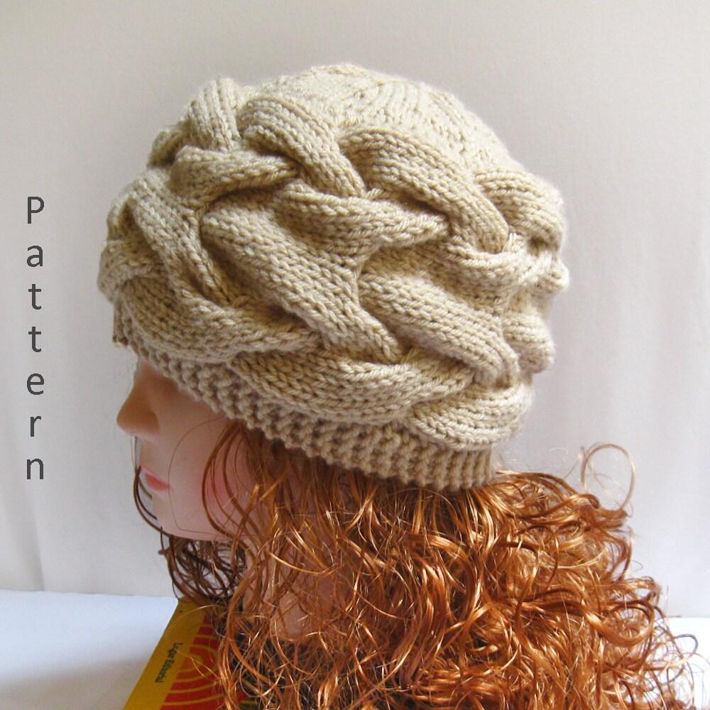 Free Knitting Pattern For Radley Dog : Knit Hat Pattern- Knit Cabled Hat PDF Pattern- Knitting Pattern n40