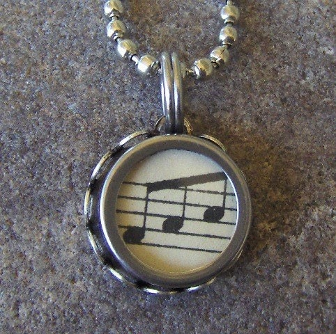Vintage Typewriter Key Necklace/Pendant/Keyring, Vintage Sheet Music
