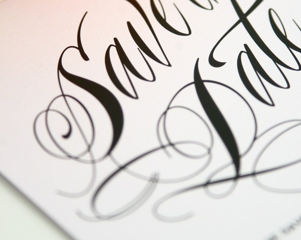 Ravishing Script Save the Date Sample in Black and White on Pearl Shimmer Luxury Cardstock