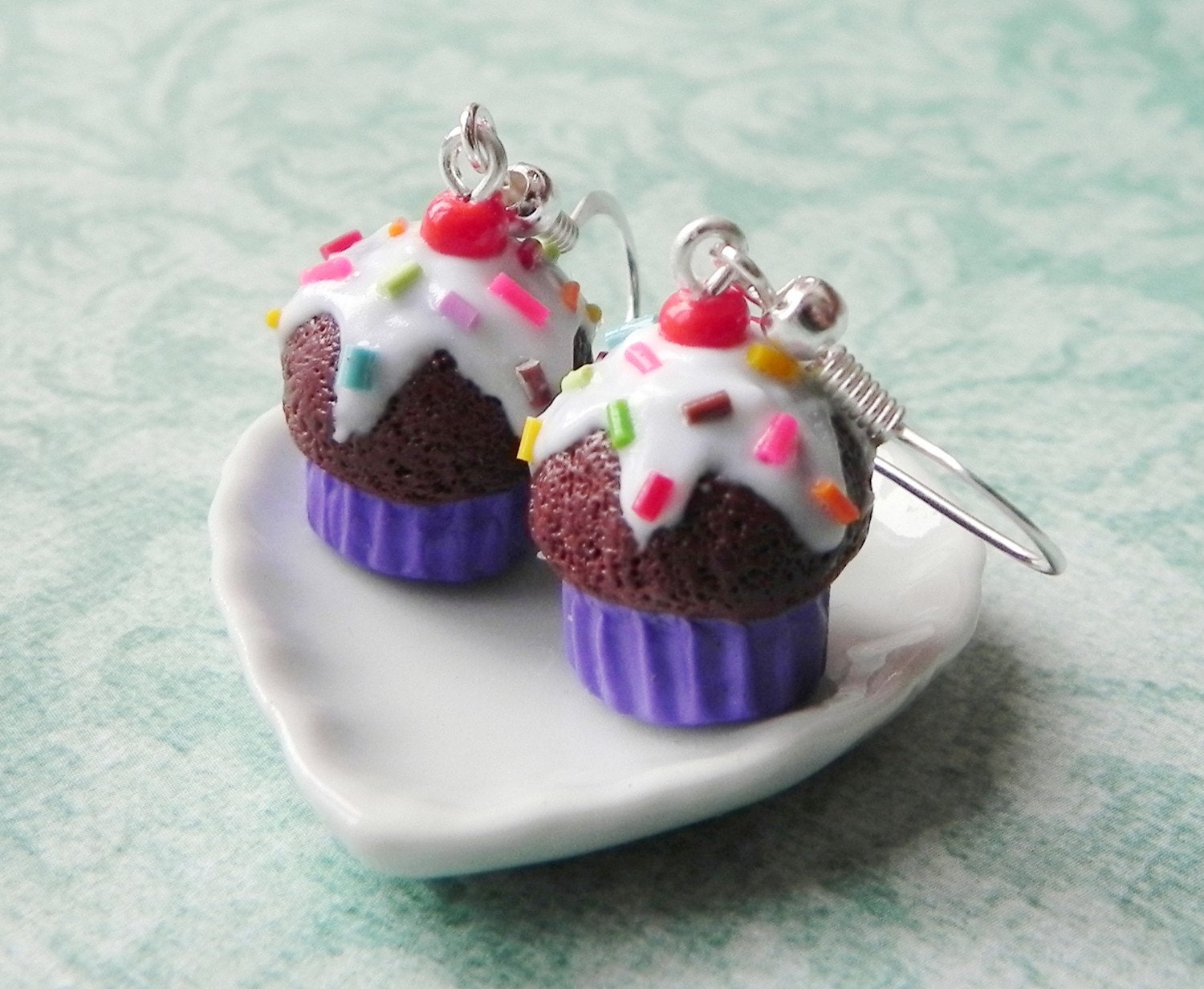 chocolate purple cupcake earrings