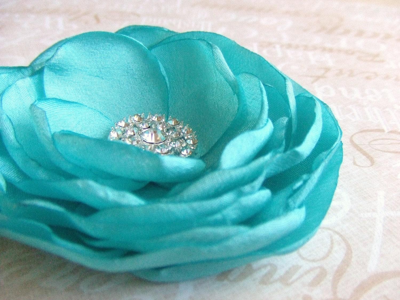 Tiffany Blue Wedding Flower Hair Clip - Bridal Accessory