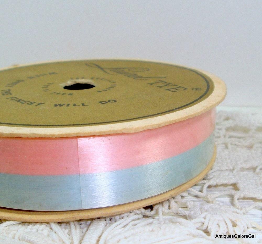 Vintage Laurel Tye Ribbon American Greeting Pink Blue