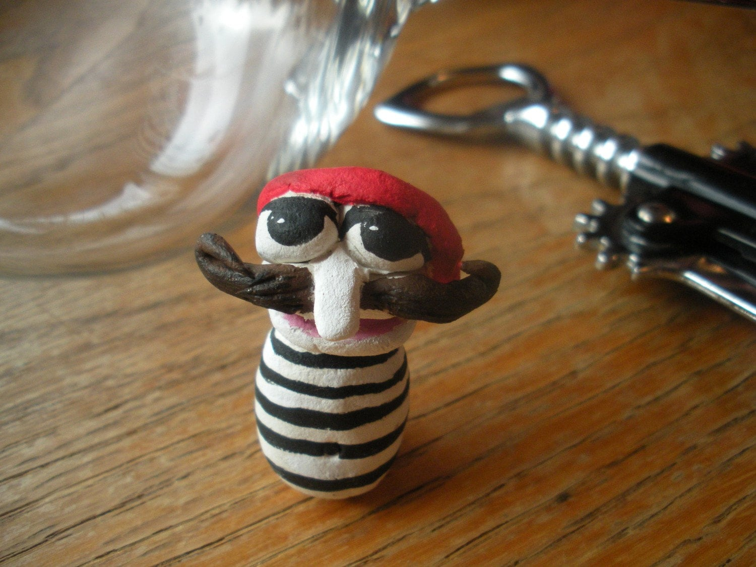Handsculpted Mini Paperclay Character with mustache