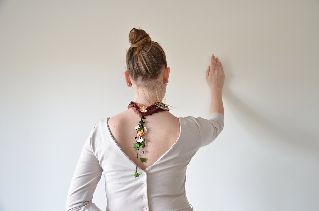 Leaves, Brown Silk Foulard, Crochet Necklace, Beadwork, Silk Necklace, Crochet Jewelry,  Mother's Day Gift - ReddApple