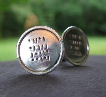 Geek Love . Sterling Silver Cuff Links . Binary Code Inscription of any word up to 5 letters long . READY TO SHIP