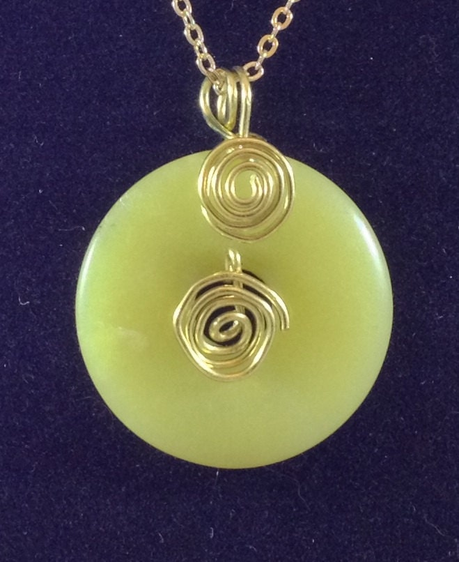 1 25 yellow jade donut wire wrapped pendant 20 by gabey8