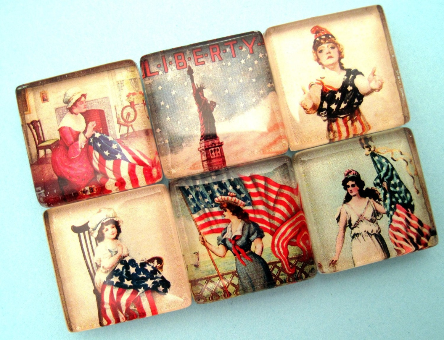 Lady Liberty - Red, White and Blue - Inch Square Glass Magnet Set