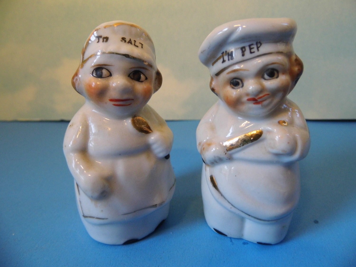 Vintage Kitchen Cook Baker Chef Couple Salt & Pepper Shakers- Japan - GrasshoppersTreasure