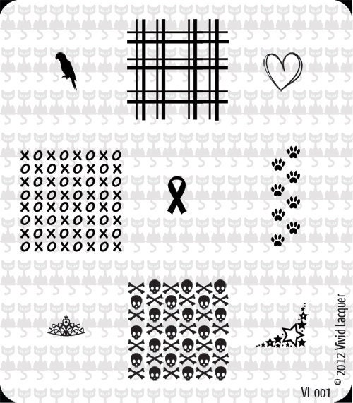VL-001 Nail Art Stamping Plate - Skulls, plaid, parrot, ribbon, xoxo, stars, tiara, paw prints, heart