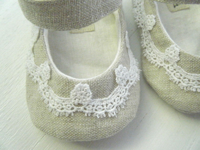 Белое кружево и органических Конопля белье Мэри Джейн обувь для вашего ребенка девушка