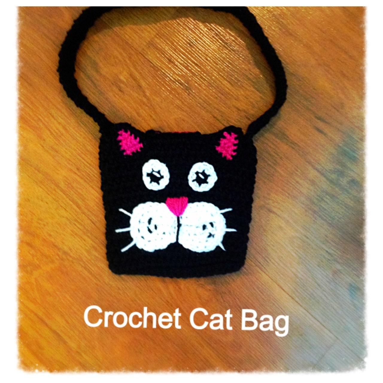 Crochet Grab Bag Pattern : Kids Crochet Cat Bag Pattern with Back Button Strap ...