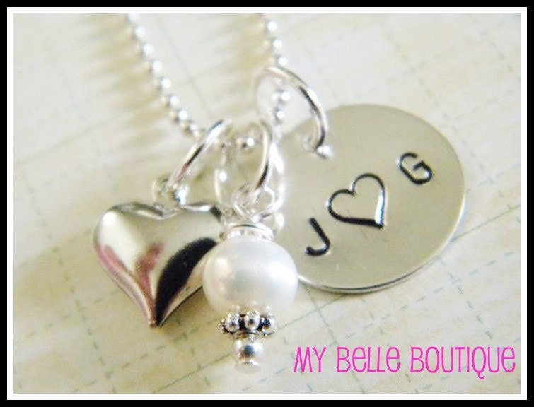 Sterling Silver Hand Stamped Disc with Silver Puffy Heart and Pearl Charm Necklace