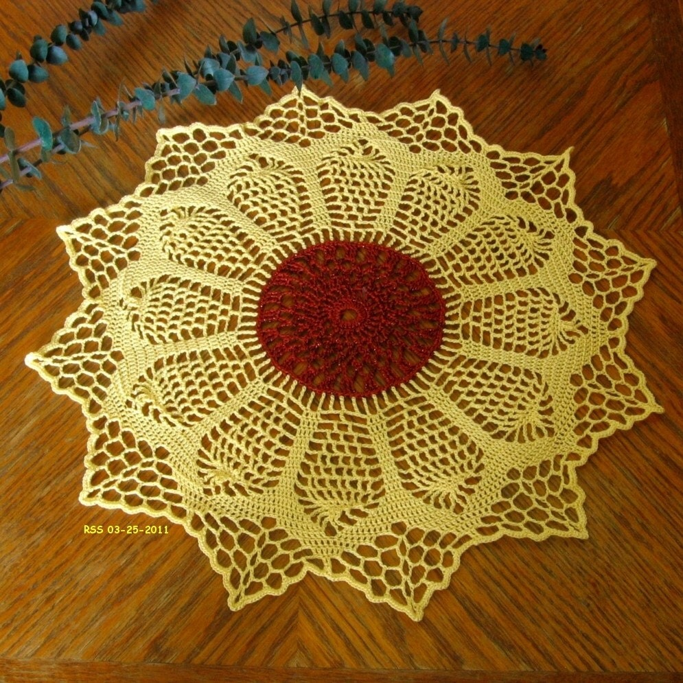 HUNGARIAN SUNFLOWER Doily or Centerpiece, Flower, Fiber Art, Table, Wall, Home Decor