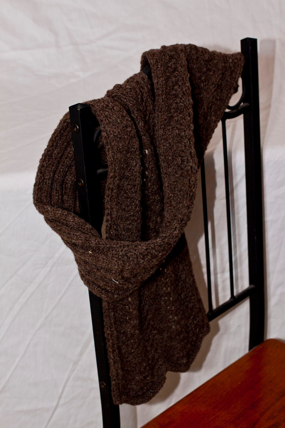 Hand Knit Natural Brown Wool Warm Lace Scarf