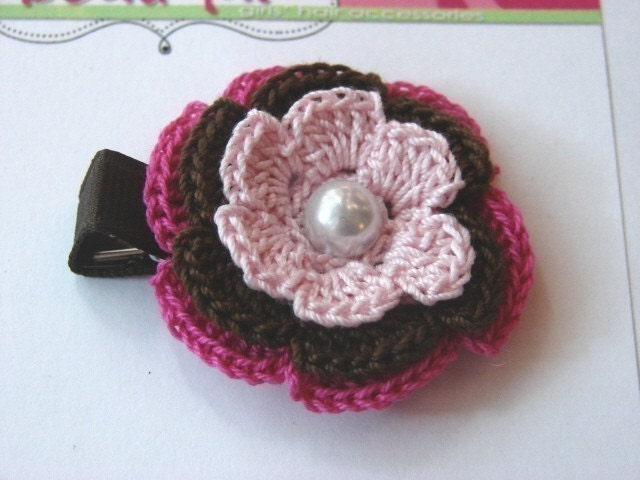 SALE SALE -Pink and Brown Crochet Flower Clip