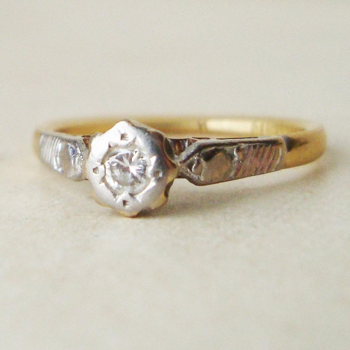 Vintage 1960 s Diamond Solitaire Engagement Ring 18k by luxedeluxe