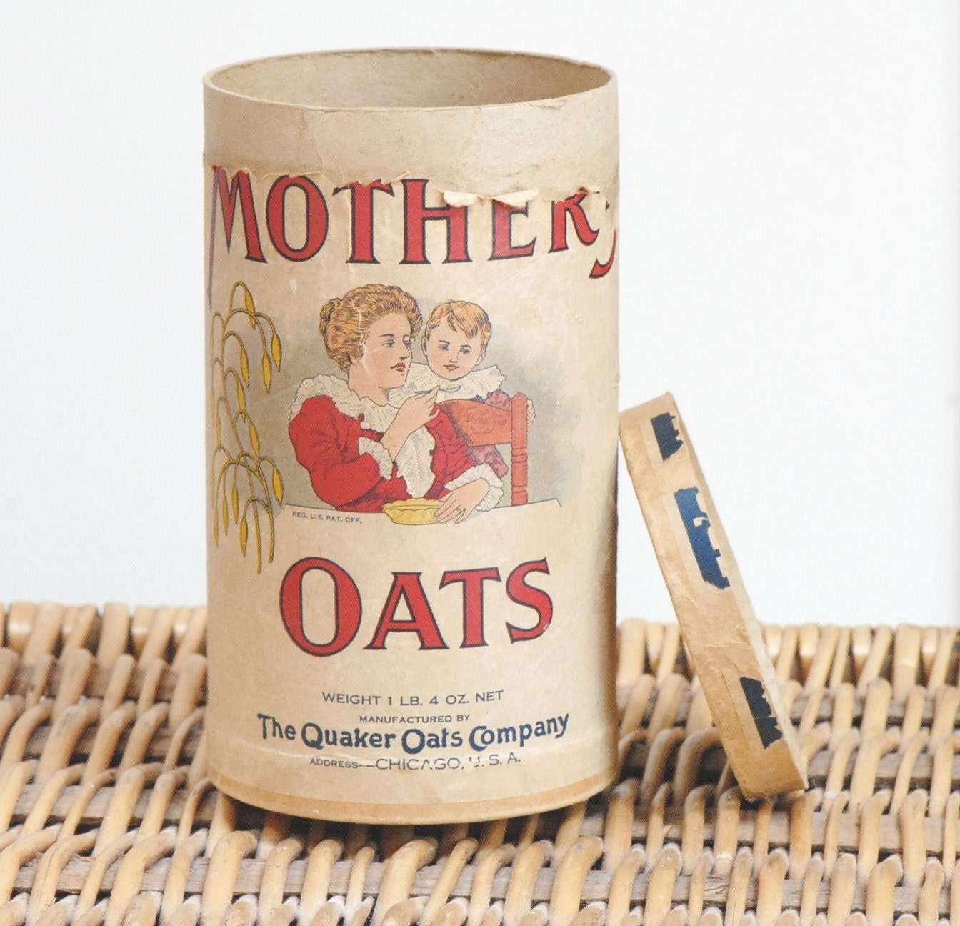 Vintage Mother's Oats Cardboard Box with Aunt Jemima's Old Plantation Pancakes Advertisement - Early 1900s