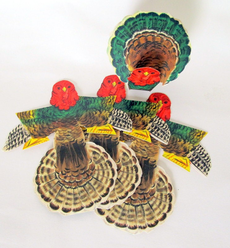 Items similar to sale vintage turkey decoration thanksgiving day table decoration set of 4 on etsy - Thanksgiving decorations on sale ...