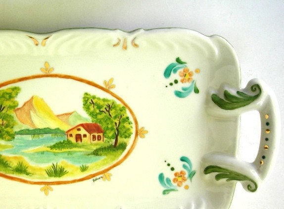Vintage Inspired Painted Porcelain Tray - Decorative Landscape,  Gift for Home Decoration , Gift under 100
