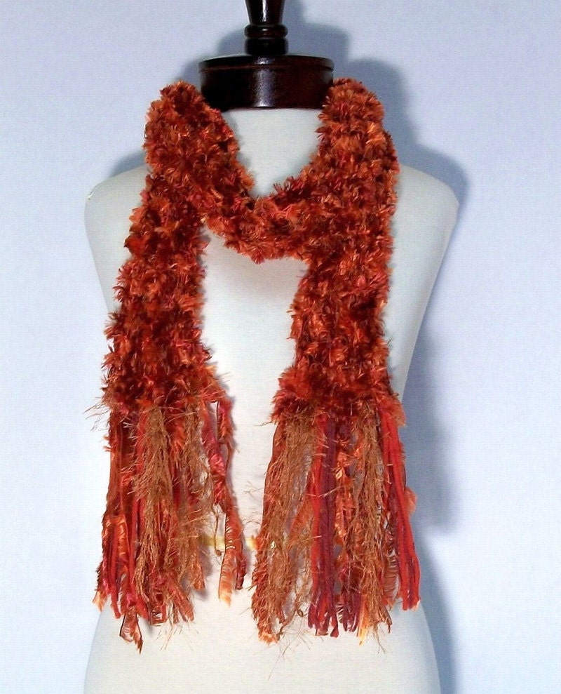 Knit Fluffy Scarf Colors of Autumn Leaves