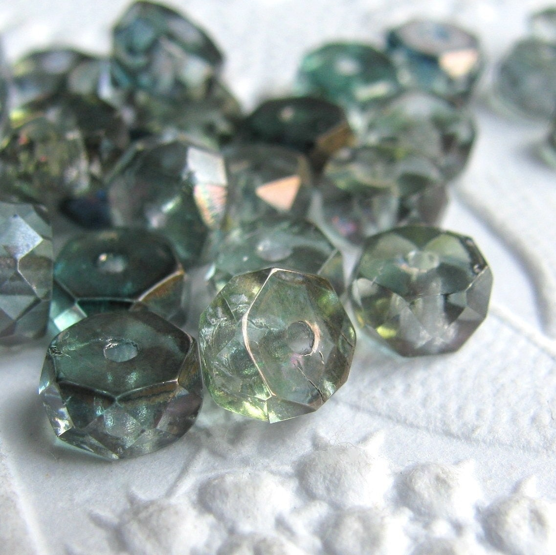 Sea glass green Picasso disc rondelle Czech glass faceted 3mm x 6mm (25 beads)