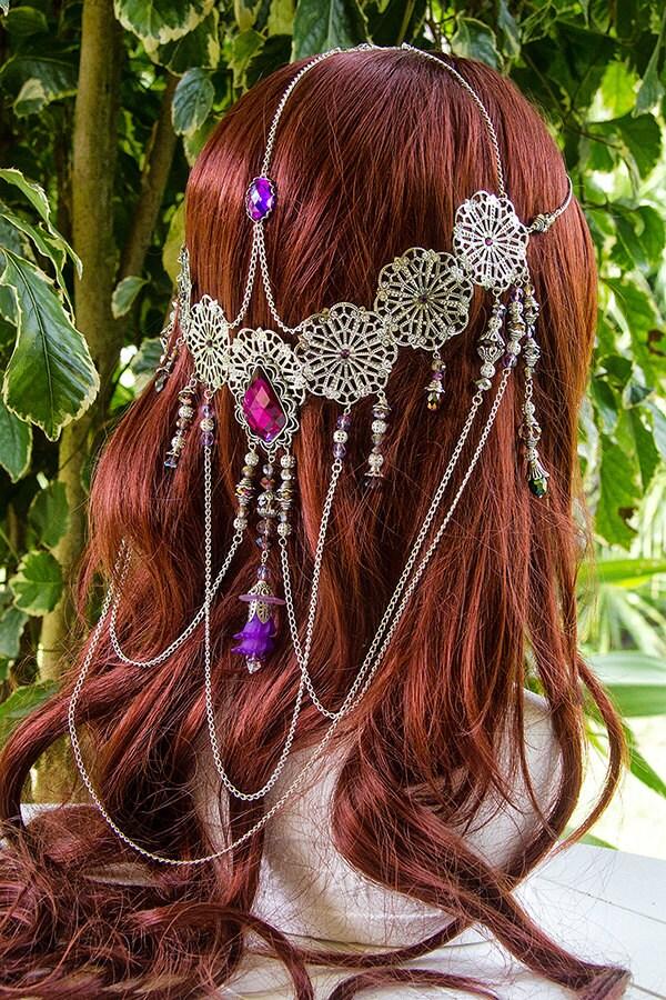 Sweet Violet Dream Elven Goddess Circlet - SeaShellPhotoArt